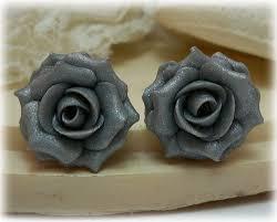 silver roses metallic silver stud earrings clip on earrings