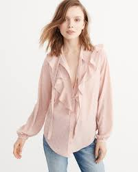 ruffle blouses lyst abercrombie fitch ruffle button blouse in pink