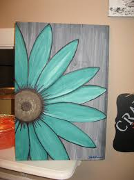 36 diy canvas painting ideas easy wall art easy wall and diy canvas turquoise flower daisy painting rustic flower wood flower wall art by southofparis on ets