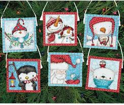 dimensions frosty friends ornaments cross stitch kit