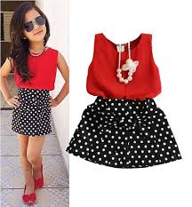 fashion red chiffon tops bowknot dot skirt clothes girls baby kids