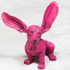 pink basset hound ornament animal table decor gift home interiors