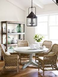 Coastal Nautical Dining Room With Rattan Chairs Httpwww - Coastal dining room table