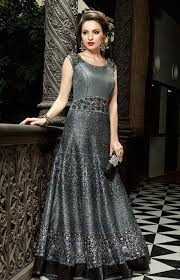 wedding dress indo sub grey and black wedding wear indo western gown anarkali style