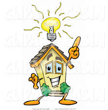 cartoon clip art of a smart home mascot cartoon character with a