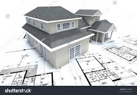 residential blueprints residential house on blueprints stock illustration 3289681