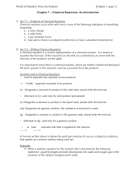 Chemical Equations And Reactions Worksheet Writing Chemical Equations Jennarocca