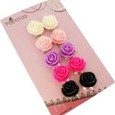 kids clip on earrings big size 19mm color flower design fashion clip on earrings