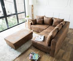 sofa braun ecksofa lavello 210x210 cm braun antik optik mit hocker möbel