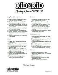 spring clean checklist kid to kid