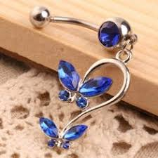 silver tone blue butterfly belly button ring listia