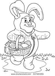 cartoon vector outline illustration easter bunny stock vector