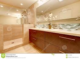elegant bathroom with glass vessel sinks royalty free stock photos