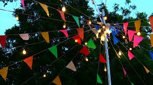 festival event decoration colorful flags and light hanging