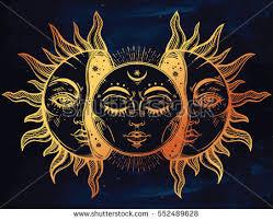 beautiful moon sun faces sun broken stock vector 552489628