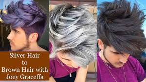 silver brown hair silver hair to brown hair with joey graceffa youtube