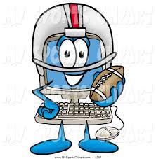 sports clip art of a sporty and happy desktop computer mascot