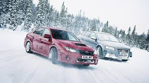 subaru drift snow top gear on ice subaru u0027s wrx takes on the audi rs3 top gear