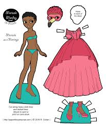 a paper doll and her flamingo inspired masquerade dress