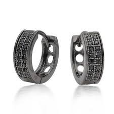 huggie earring 925 silver black rhodium micro pave cz huggie earrings