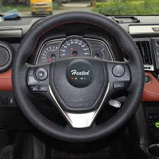 toyota rav4 steering wheel cover nappa leather braid on car steering wheel cover for toyota rav4