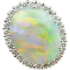natural white opal 11 18 ctw natural australian fire opal and diamond halo ring 18k
