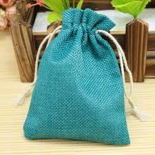 linen favor bags lake blue color 10pcs wedding favor bags faux linen bags jute