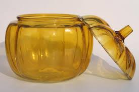 yellow pumpkin glass cookie jar canister for fall harvest