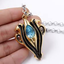 blue crystal necklace images Anime jewelry fire emblem link chain blue crystal necklace for jpg