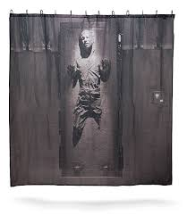 star wars han solo in carbonite shower curtain thinkgeek