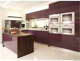 Kitchen Island With Microwave Dark Purple Modern L Shaped Kitchen Cabinet With White Marble