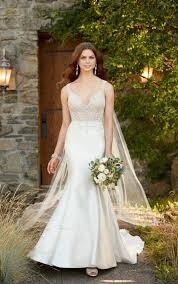 formal wedding dress with beading u0026 long train essense of australia