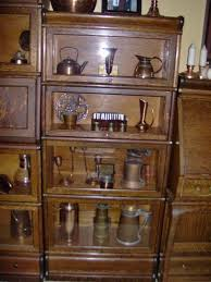 Lawyers Bookcase Plans Antique Globe Wernicke 3 4 Size Bookcase Displaying Copper