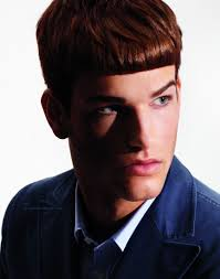 hairstyle with clean lines and straight bangs for fashionable men