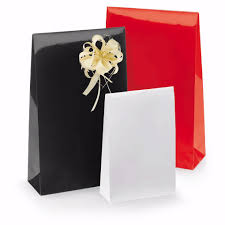 present bags 50 pcs gloss paper gift bags with adhesive trip and block bottom