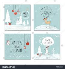 set 4 cute christmas cards quote stock vector 510905614 shutterstock