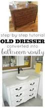 How To Build A Bathroom Vanity by Old Dresser Turned Bathroom Vanity Tutorial