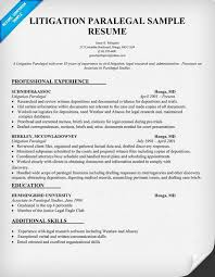 Litigation Attorney Resume Sample by Resume Format And Samples For Paralegal Position Vinodomia