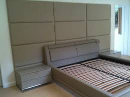 upholstered wall panels headboard bed with side benches storage in