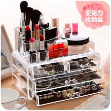 red office desk accessories desktop acrylic makeup organizer for cosmetics and jewelry office