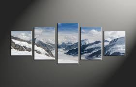 5 piece white landscape snow group canvas