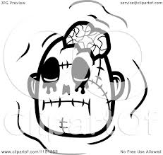 cartoon clipart of a black and white zombie head with a bow
