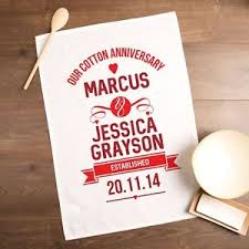 second year anniversary gift ideas personalised cotton wedding anniversary tea towel 2nd anniversary