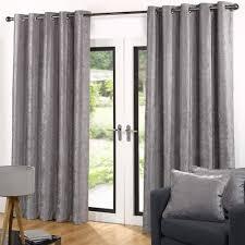 Velvet Lined Ready Made Eyelet Ring Plain Curtains By Sundour