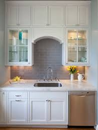 backsplashes for white kitchens attractive kitchen white cabinets with gray subway tile backsplash