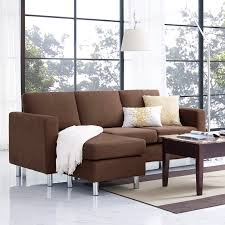 living room modern sectional sofa in brown with drum floor lamp
