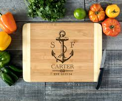 engraved cutting board nautical anchor engraved cutting board hds cabanyco