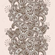 hand drawn henna mehndi abstract mandala flowers and paisley