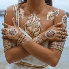henna temporary tattoo metallic temporary tattoo gold flash