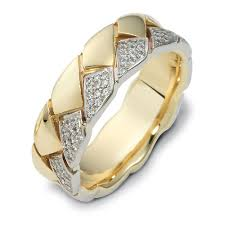 wedding ring designs gold men s braided two tone gold and diamond band 319